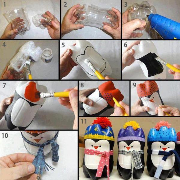 Pinguini da una bottiglia di Coca Cola...