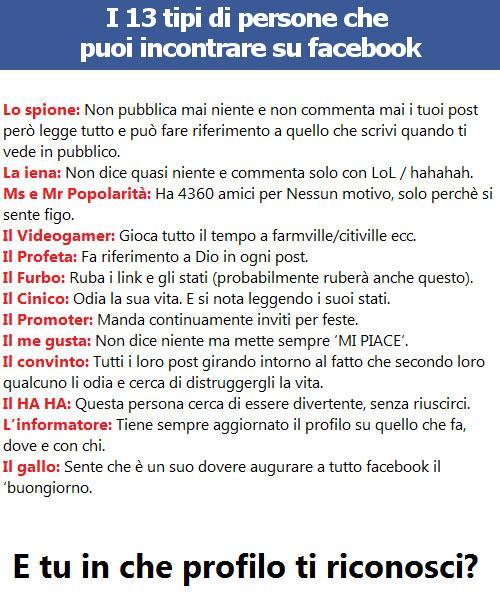 Tipi di persone di Facebook...